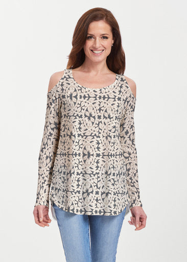 Topiary Cream (7581) ~ Butterknit Cold Shoulder Tunic