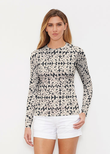 Topiary Cream (7581) ~ Long Sleeve Rash Guard
