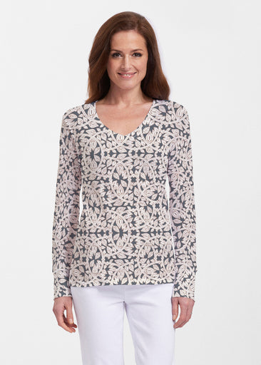 Topiary Cream (7581) ~ Thermal Long Sleeve V-Neck Shirt