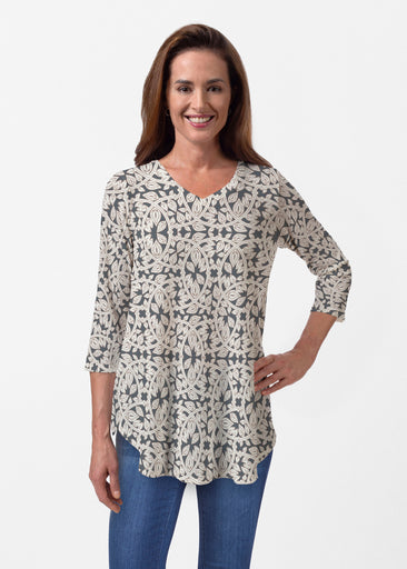 Topiary Cream (7581) ~ Butterknit V-neck Flowy Tunic