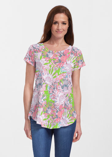 Floral Awakening (7599) ~ Signature Short Sleeve Scoop Neck Flowy Tunic