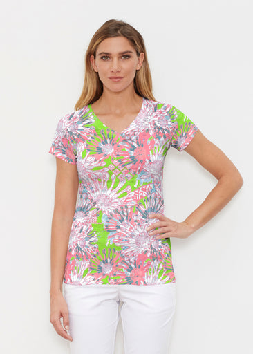 Floral Awakening (7599) ~ Signature Cap Sleeve V-Neck Shirt
