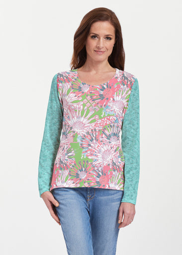 Floral Awakening (7599) ~ Texture Mix Long Sleeve
