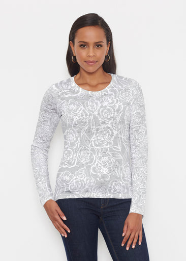 Freehand Floral Grey (7605) ~ Signature Long Sleeve Crew Shirt