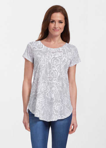 Freehand Floral Grey (7605) ~ Signature Short Sleeve Scoop Neck Flowy Tunic