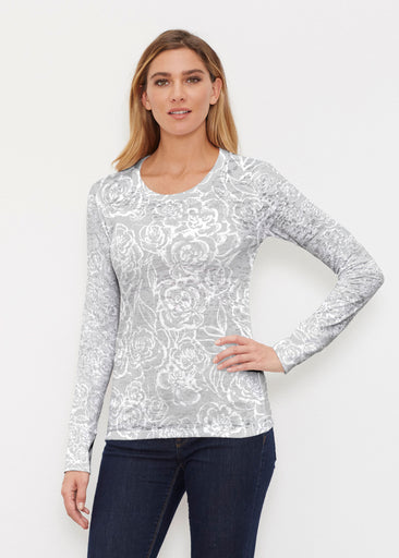 Freehand Floral Grey (7605) ~ Thermal Long Sleeve Crew Shirt