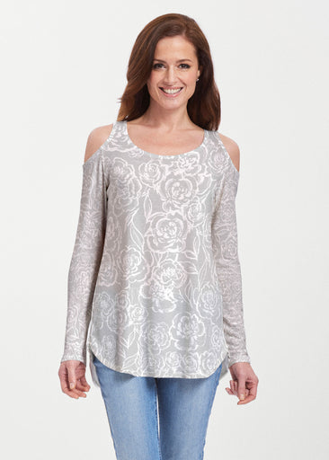 Freehand Floral Grey (7605) ~ Butterknit Cold Shoulder Tunic