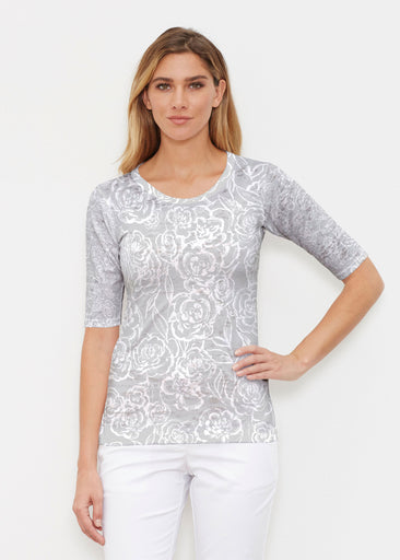 Freehand Floral Grey (7605) ~ Elbow Sleeve Crew Shirt