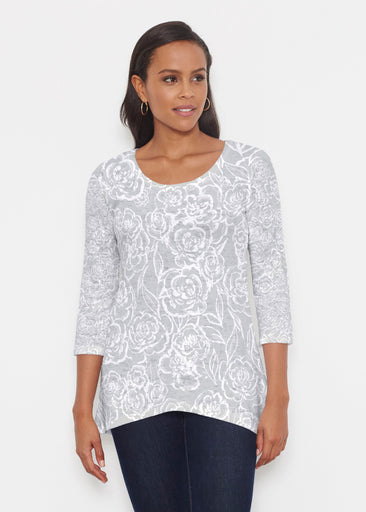 Freehand Floral Grey (7605) ~ Katherine Hi-Lo Thermal Tunic