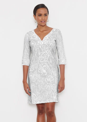 Freehand Floral Grey (7605) ~ Classic 3/4 Sleeve Sweet Heart V-Neck Dress
