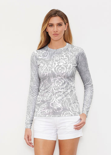 Freehand Floral Grey (7605) ~ Long Sleeve Rash Guard