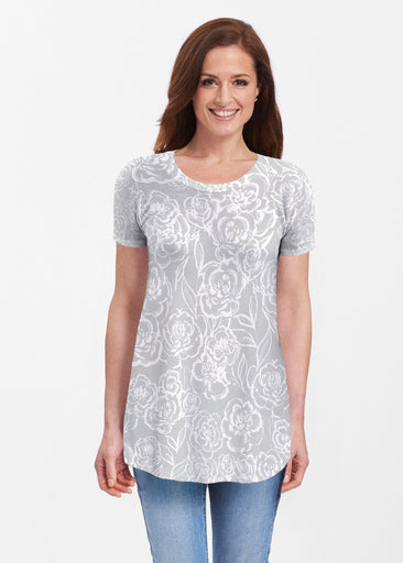 Freehand Floral Grey (7605) ~ Butterknit Short Sleeve Tunic