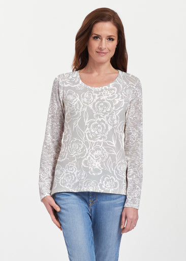 Freehand Floral Grey (7605) ~ Texture Mix Long Sleeve