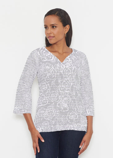 Freehand Floral Grey (7605) ~ Banded 3/4 Bell-Sleeve V-Neck Tunic