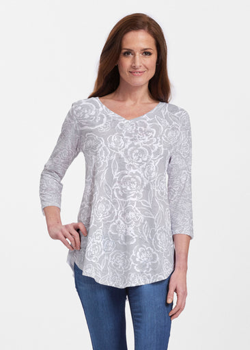 Freehand Floral Grey (7605) ~ V-neck Flowy Tunic