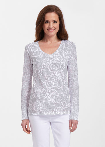 Freehand Floral Grey (7605) ~ Thermal Long Sleeve V-Neck Shirt