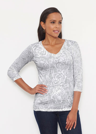 Freehand Floral Grey (7605) ~ Signature 3/4 V-Neck Shirt