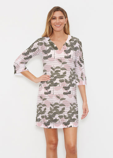 On Pink (7606) ~ Banded 3/4 Sleeve Cover-up Dress