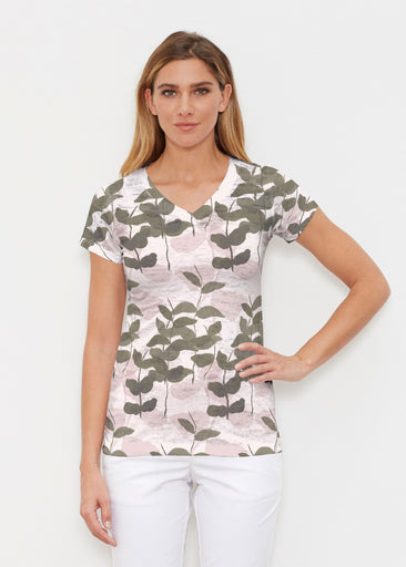 On Pink (7606) ~ Signature Cap Sleeve V-Neck Shirt