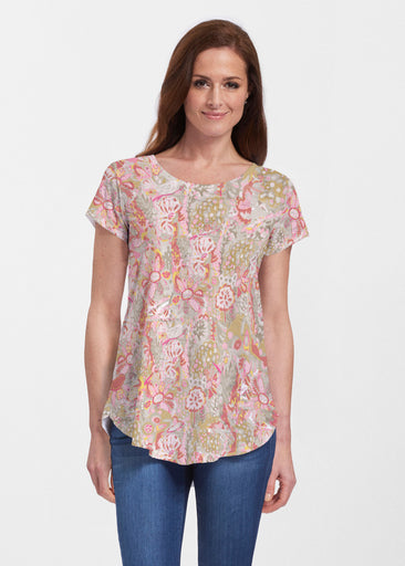Bohemian Pink (7608) ~ Signature Short Sleeve Scoop Neck Flowy Tunic