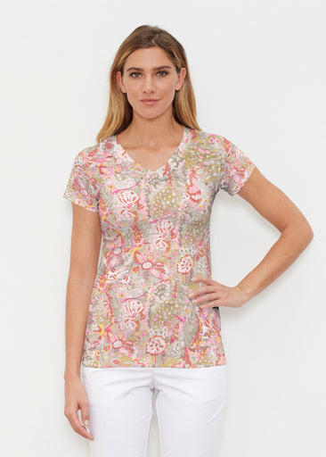 Bohemian Pink (7608) ~ Signature Cap Sleeve V-Neck Shirt