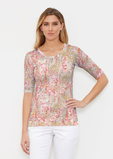 Bohemian Pink (7608) ~ Elbow Sleeve Crew Shirt