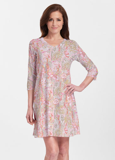 Bohemian Pink (7608) ~ V-neck Swing Dress