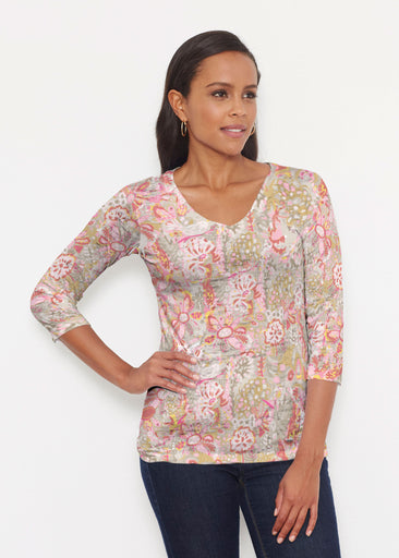 Bohemian Pink (7608) ~ Signature 3/4 V-Neck Shirt