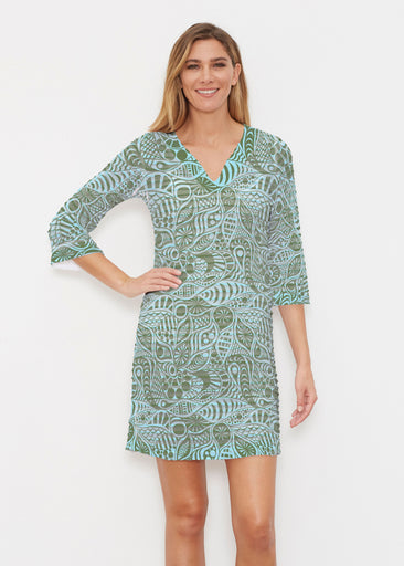 Aquatic Green (7610) ~ Banded 3/4 Sleeve Cover-up Dress