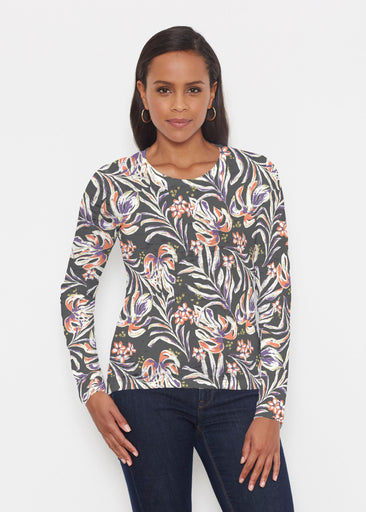 Tropic Palms Black (7611) ~ Signature Long Sleeve Crew Shirt