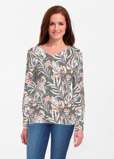 Tropic Palms Black (7611) ~ Classic V-neck Long Sleeve Top