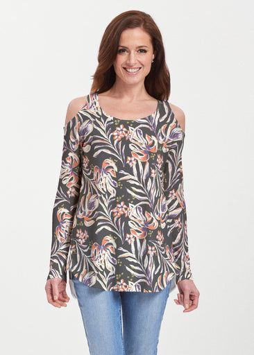 Tropic Palms Black (7611) ~ Butterknit Cold Shoulder Tunic
