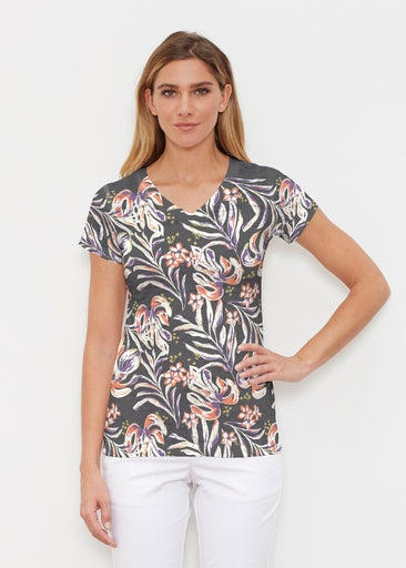 Tropic Palms Black (7611) ~ Signature Cap Sleeve V-Neck Shirt