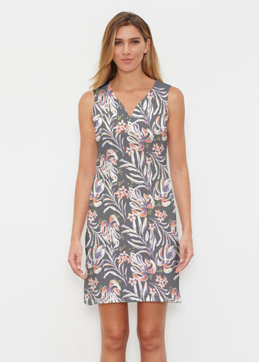 Tropic Palms Black (7611) ~ Classic Sleeveless Dress