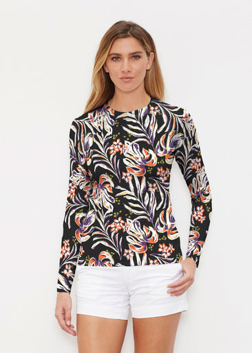 Tropic Palms Black (7611) ~ Long Sleeve Rash Guard