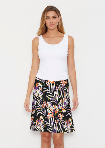 Tropic Palms Black (7611) ~ Silky Brenda Skirt 21 inch