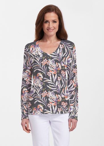 Tropic Palms Black (7611) ~ Thermal Long Sleeve V-Neck Shirt