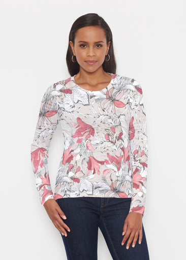 Pen and Ink Lily Beige (7612) ~ Signature Long Sleeve Crew Shirt