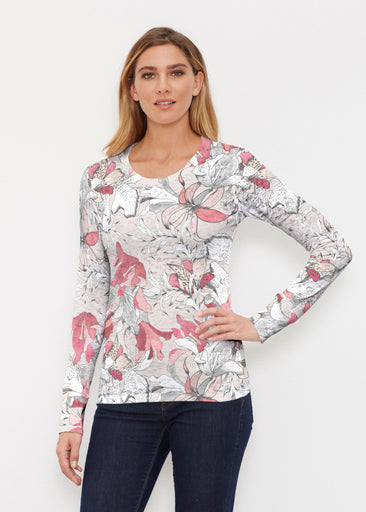Pen and Ink Lily Beige (7612) ~ Thermal Long Sleeve Crew Shirt