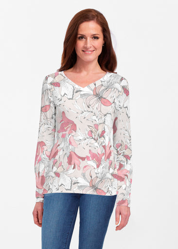 Pen and Ink Lily Beige (7612) ~ Classic V-neck Long Sleeve Top