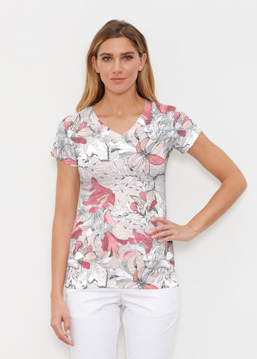 Pen and Ink Lily Beige (7612) ~ Signature Cap Sleeve V-Neck Shirt