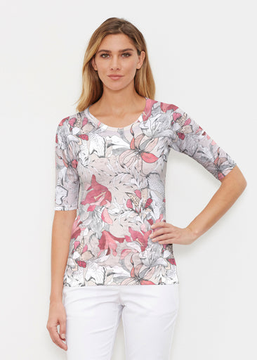 Pen and Ink Lily Beige (7612) ~ Elbow Sleeve Crew Shirt
