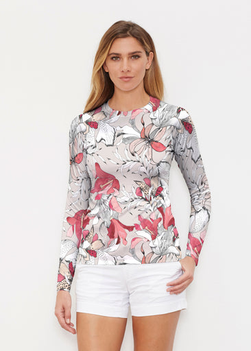 Pen and Ink Lily Beige (7612) ~ Long Sleeve Rash Guard