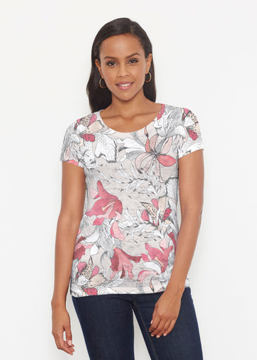 Pen and Ink Lily Beige (7612) ~ Short Sleeve Scoop Shirt