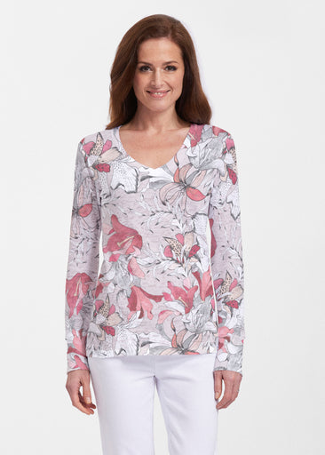 Pen and Ink Lily Beige (7612) ~ Thermal Long Sleeve V-Neck Shirt