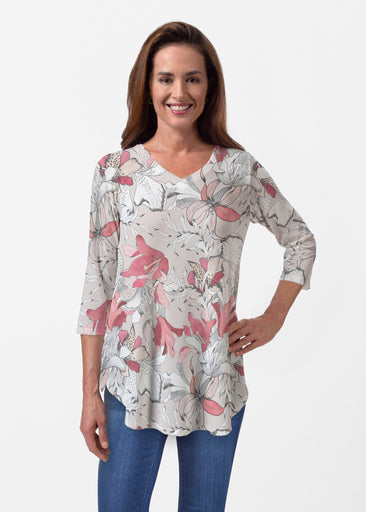 Pen and Ink Lily Beige (7612) ~ Butterknit V-neck Flowy Tunic