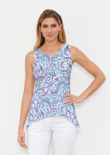 Handpainted Paisley Blue (7613) ~ High-low Tank