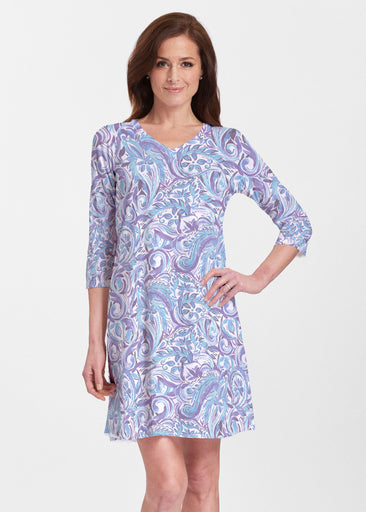 Handpainted Paisley Blue (7613) ~ V-neck Swing Dress
