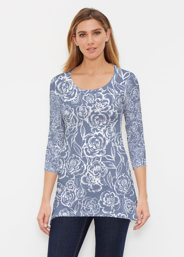 Freehand Floral Navy (7614) ~ Buttersoft 3/4 Sleeve Tunic