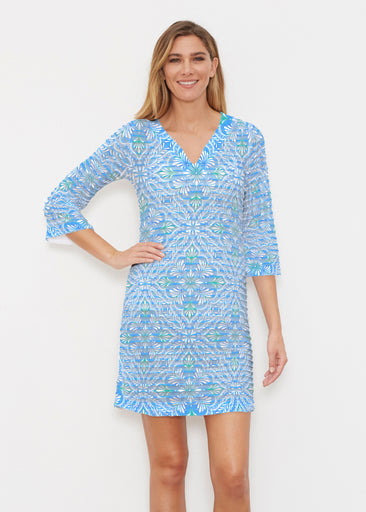 Ceramic Tiles Aqua (7615) ~ Banded 3/4 Sleeve Cover-up Dress